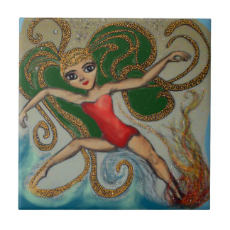 Maeve with Flame and Wave Ceramic Tiles