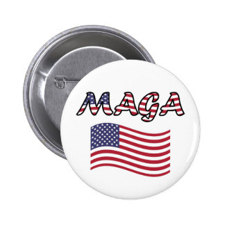 MAGA with US Flag Red White and Blue 2 Inch Round Button