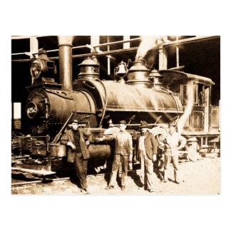 Magasin de chemin de fer de tronc et équipage carte postale