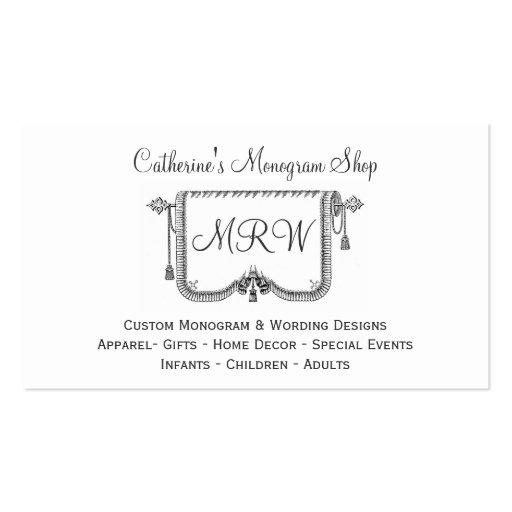 Magasin vintage de conception de monogramme de cad cartes de visite professionnelles