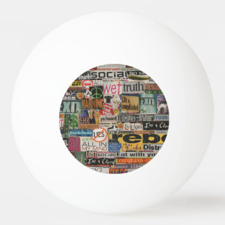 magazine cutouts word cloud textual art collage Ping-Pong ball
