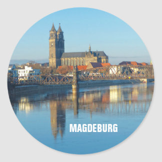 Magdeburg Cathedral with river Elbe 01.2.T Classic Round Sticker