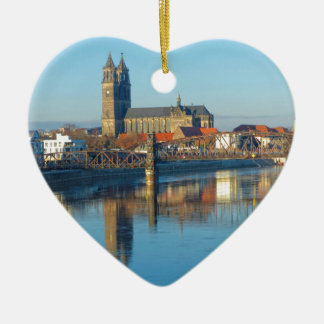 Magdeburg Cathedral with river Elbe 01 Ceramic Ornament