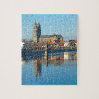 Magdeburg Cathedral with river Elbe 01 Jigsaw Puzzle
