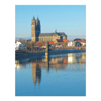 Magdeburg Cathedral with river Elbe 01 Letterhead