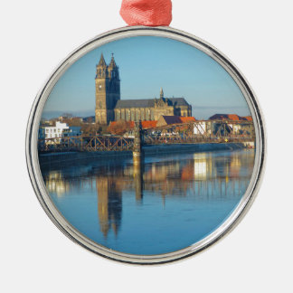 Magdeburg Cathedral with river Elbe 01 Metal Ornament