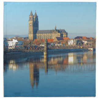 Magdeburg Cathedral with river Elbe 01 Napkin