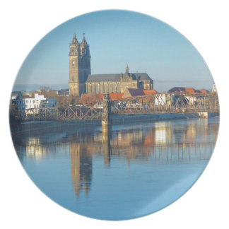 Magdeburg Cathedral with river Elbe 01 Plate