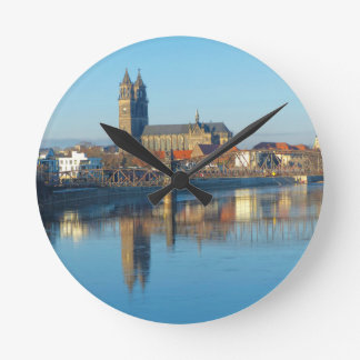 Magdeburg Cathedral with river Elbe 01 Round Clock