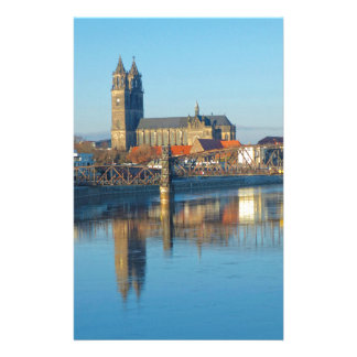 Magdeburg Cathedral with river Elbe 01 Stationery
