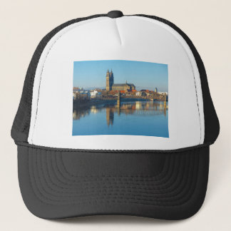 Magdeburg Cathedral with river Elbe 01 Trucker Hat