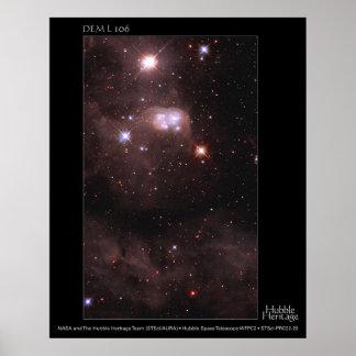 Magellanic Cloud DEM L 106 Hubble Telescope Poster