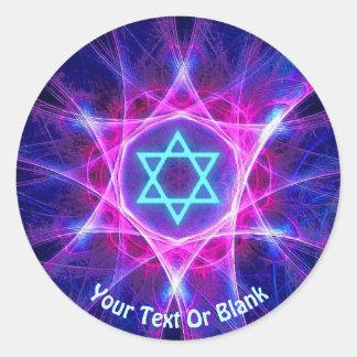 Magen Bet Fractal Classic Round Sticker
