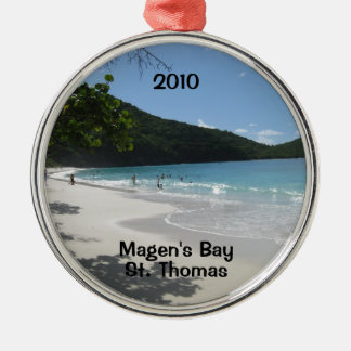 Magen's Bay, St. Thomas, 2010 Silver-Colored Round Ornament
