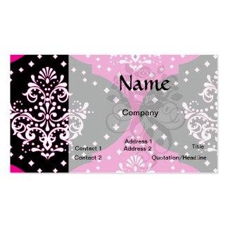 magent pink black white henna damask business card