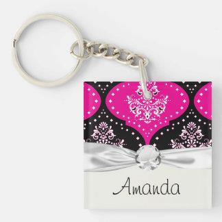 magent pink black white henna damask keychain