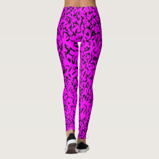 Magenta abstract leaf design leggings