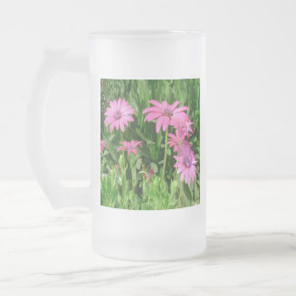 Magenta African Daisies Frosted Glass Beer Mug