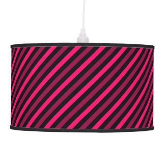 Magenta and Black Diagonal Stripes Pendant Lamp