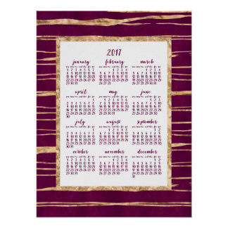 Magenta And Gold Foil Yearly 2017 Calendar Poster