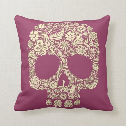 Magenta and Ivory Sugar Skull Throw Pillow