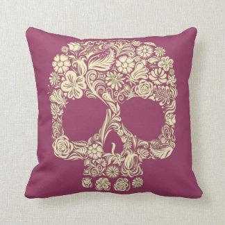 Magenta and Ivory Sugar Skull Throw Pillow