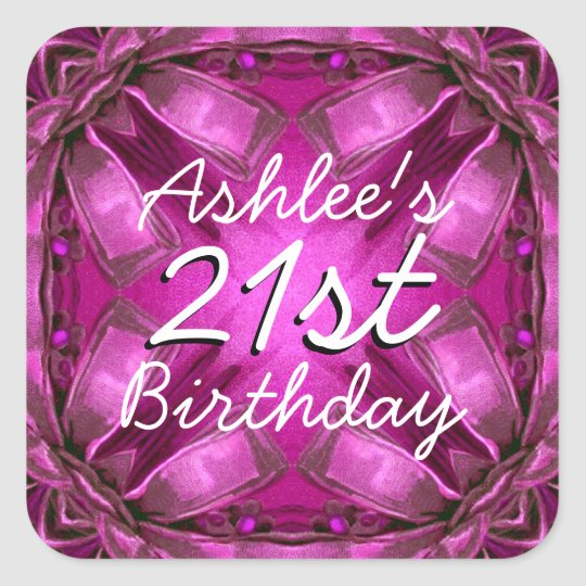 Magenta and Pink Bows 21st Birthday Custom Name V2 Square Sticker