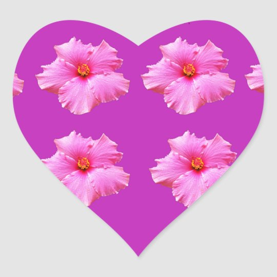 Magenta And Pink Hibiscus Kisses, Heart Sticker