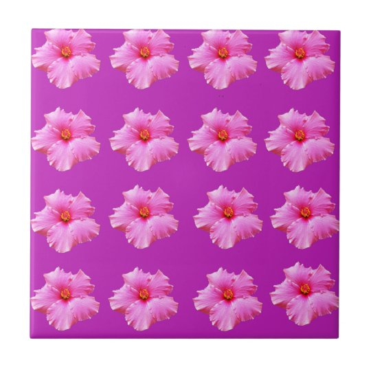Magenta And Pink Hibiscus Kisses, Tile