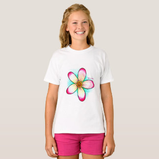 Magenta and teal flower Tee