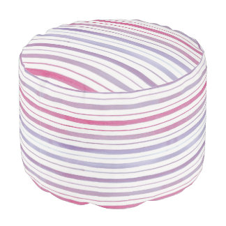 Magenta and Violet Striped Pouf