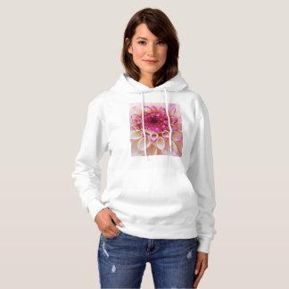 Magenta and white dahlia close up hoodie