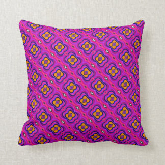 Magenta and yellow flowers - Throw Pillow