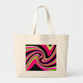 Magenta and yellow twisted design large tote bag