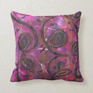 Magenta, black and gold swirls throw pillow