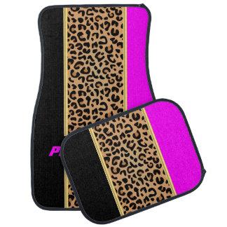 Magenta & Black Leopard Animal Print Car Mat