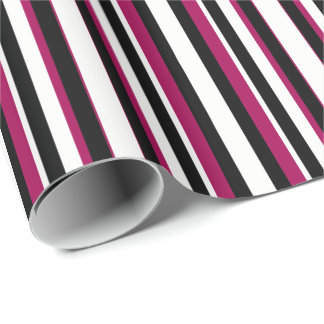 Magenta Black White Stripes Wrapping Paper