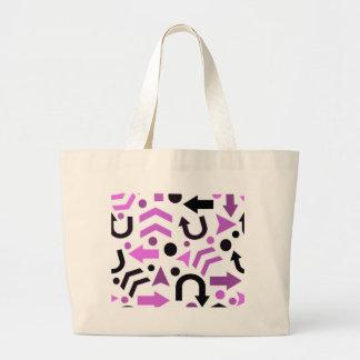 Magenta direction pattern large tote bag