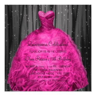 """Magenta Dress Quinceanera 5.25"""" Square Invitation Card"""