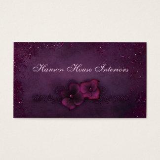 Magenta Eggplant Vintage Sparkle Flowers Business Card