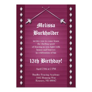 Magenta Fencing Birthday Party Invitation