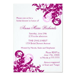Magenta Flourish Bridal Shower Card