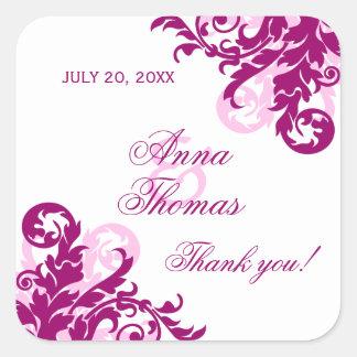 Magenta Flourish Wedding Favor Stickers