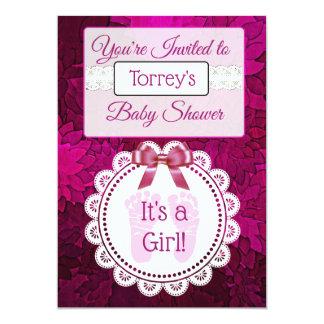 Magenta Footprints Girl's  Baby Shower Invitation