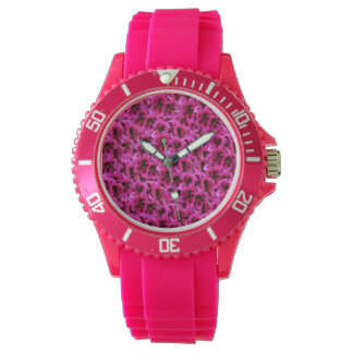 Magenta Geranium Flower, Ladies Pink Sports Watch. Watch
