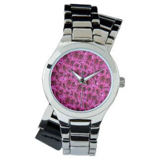 Magenta Geranium Flower  Ladies Silver Wrap Watch. Wristwatch
