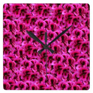 Magenta Geranium Flowers, Square Wall Clock