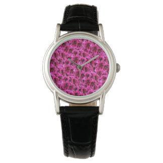 Magenta Geraniums , Ladies Black Leather Watch. Watch