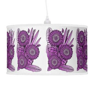 Magenta Gerbera Daisy Flower Bouquet Pendant Lamp