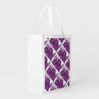 Magenta Gerbera Daisy Flower Bouquet Reusable Grocery Bag